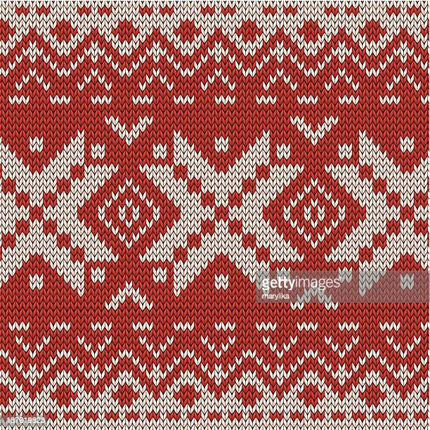 christmas knitted seamless pattern - sweater stock illustrations, clip art, cartoons, & icons