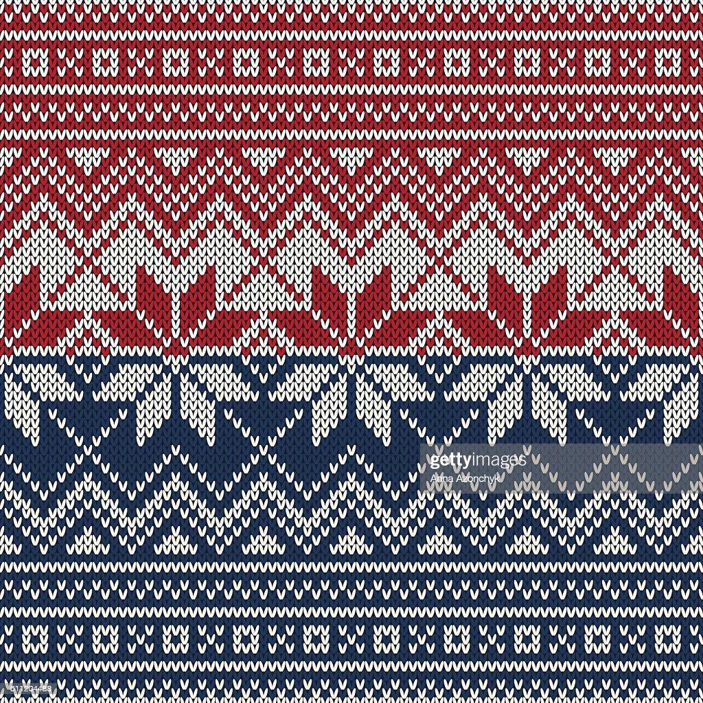 Christmas Knitted Sweater Design. Seamless Knitting Pattern