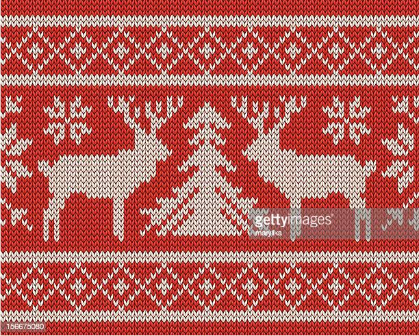 Christmas knitting background with deers