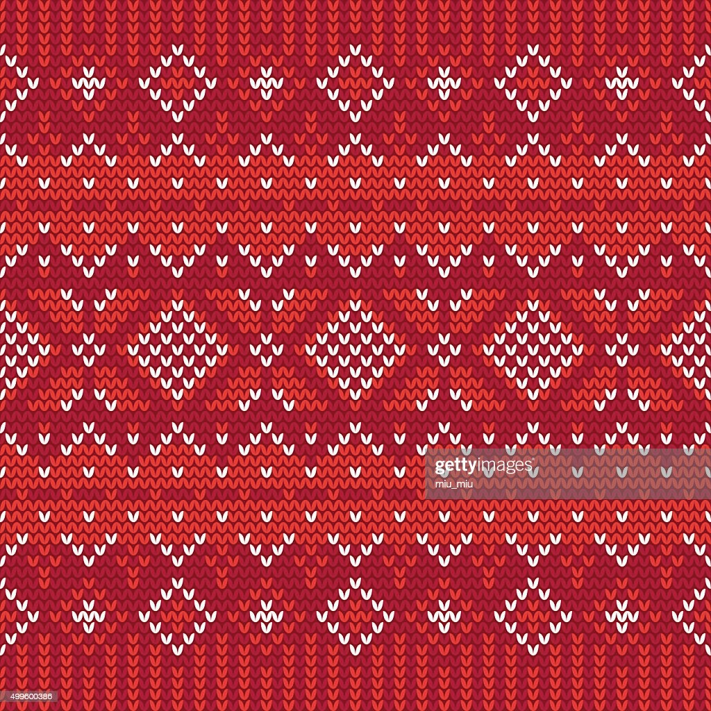 Christmas knitting seamless pattern in White and Red