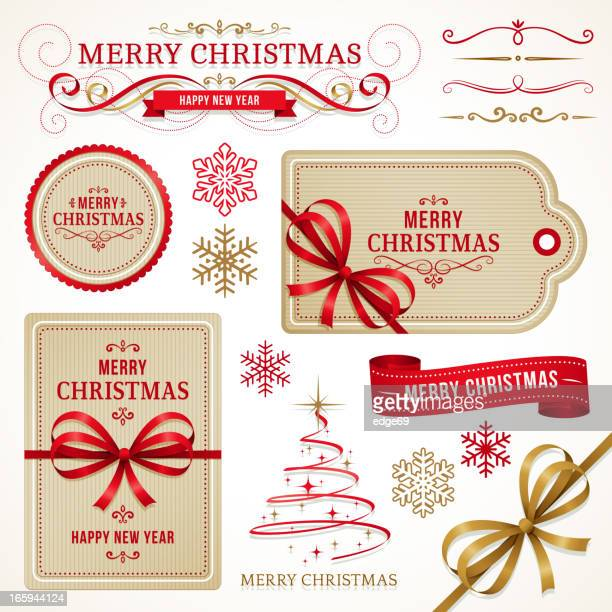 christmas labels and elements - tied bow stock illustrations