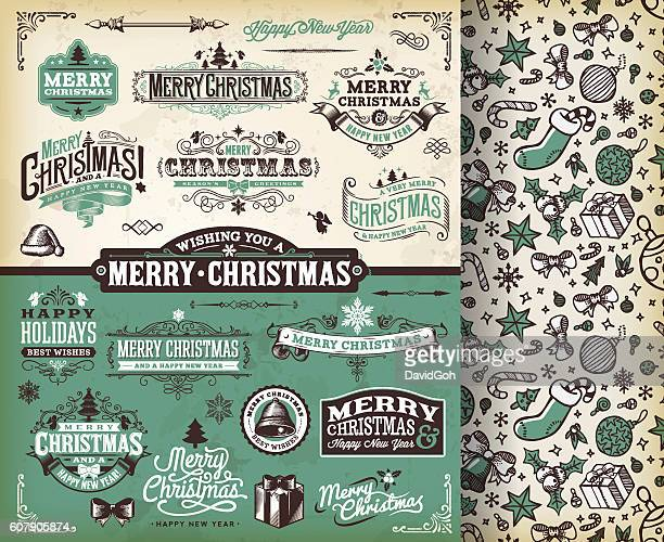 christmas labels & badges toolset - chinese lantern lily stock illustrations