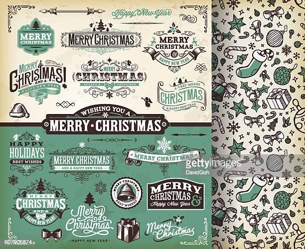 christmas labels & badges toolset - mistletoe stock illustrations, clip art, cartoons, & icons