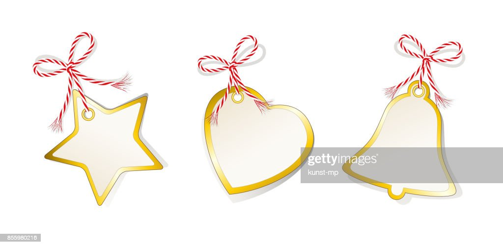 Christmas labels set, star, heart, bell, Christmas etiquettes collection, Etiquettes and gift set with golden edging and cord tape,