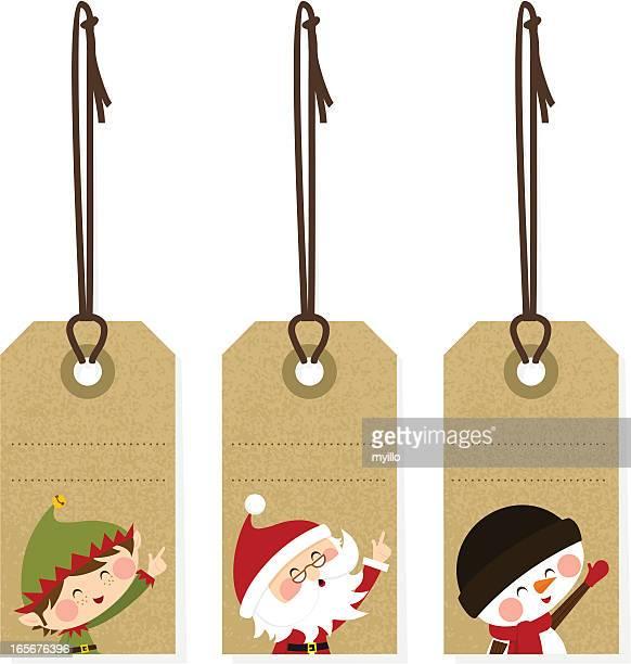 illustrazioni stock, clip art, cartoni animati e icone di tendenza di etichette di natale - carta da pacchi