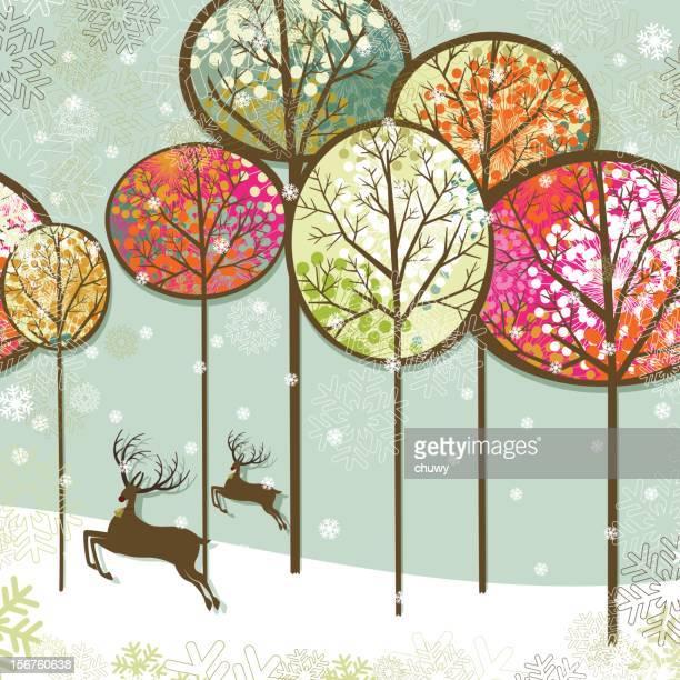 ilustraciones, imágenes clip art, dibujos animados e iconos de stock de navidad paisaje y reindeers - chuwy