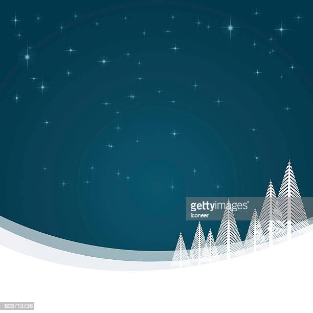 Christmas landscape with snow and winter stars background