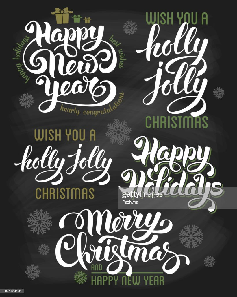 Christmas letterings set