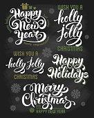 Christmas letterings set