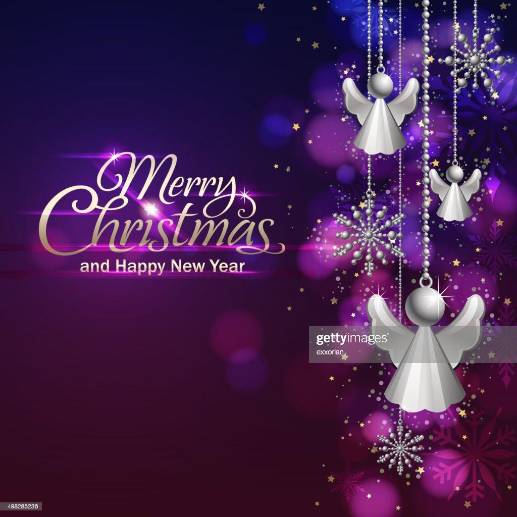 christmas lights and angel ornament vector art