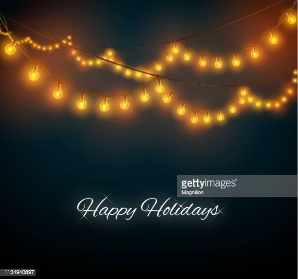 christmas lights background - christmas lights stock illustrations