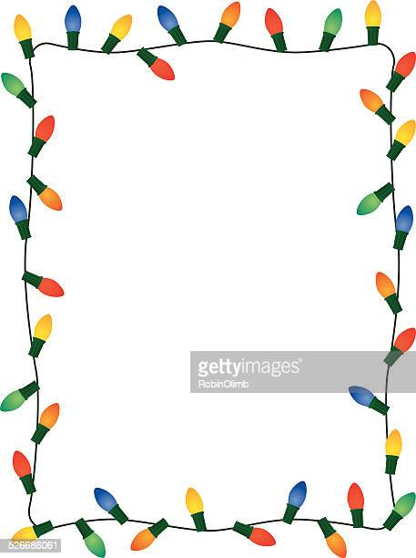 christmas lights frame - illuminated stock illustrations