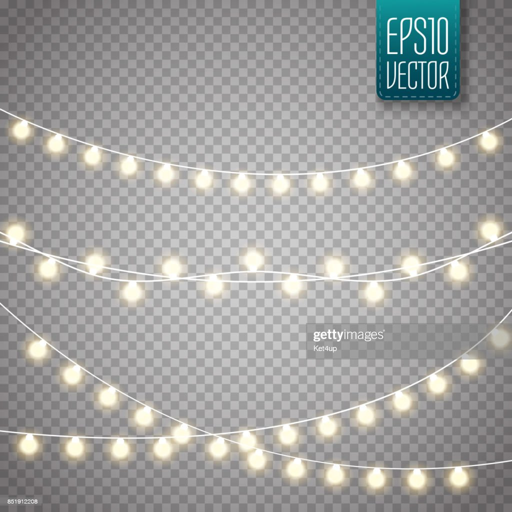 Christmas lights isolated on transparent background. Vector xmas glowing garland
