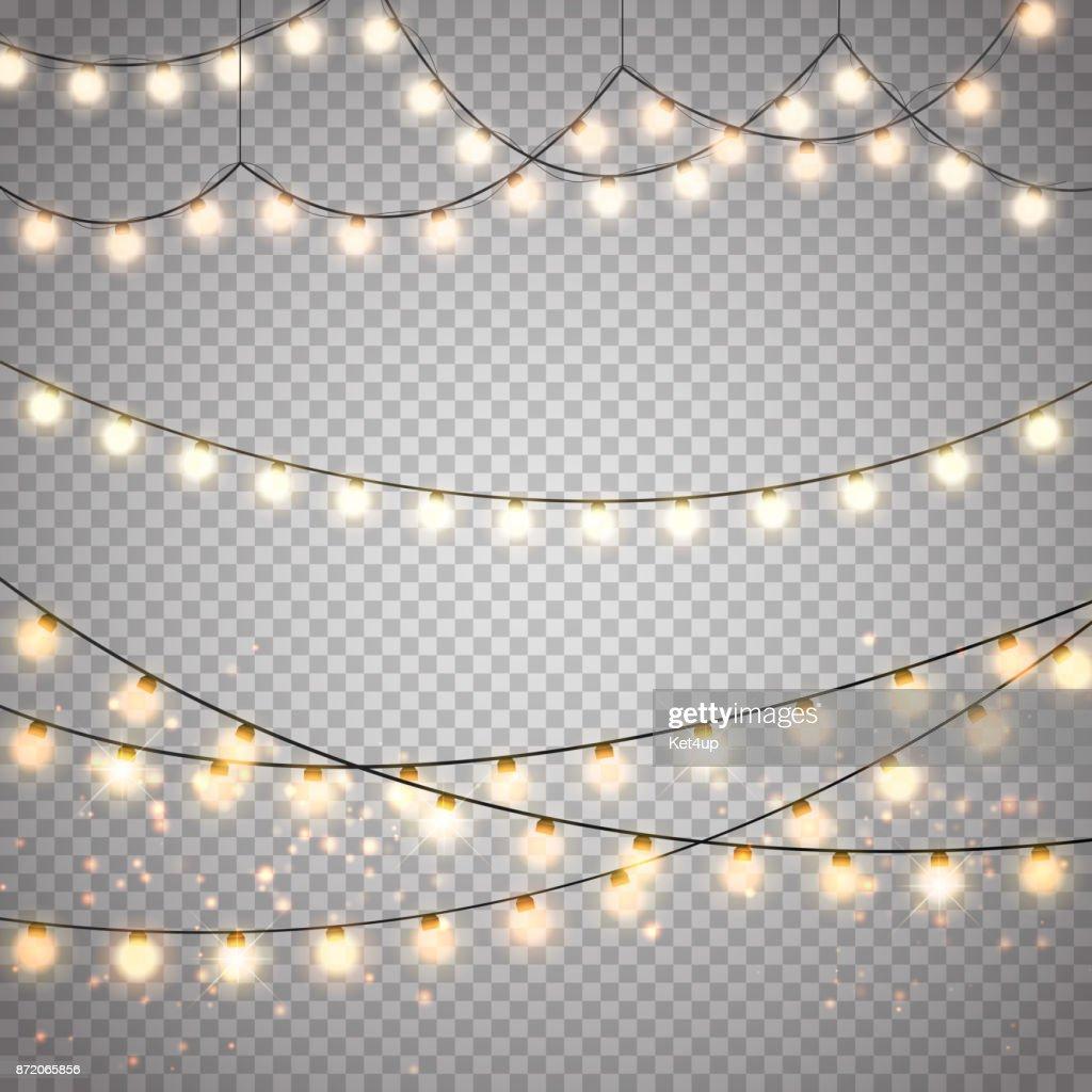 Pearl Weihnachtsbeleuchtung.Weihnachtsbeleuchtung Auf Transparenten Hintergrund Isoliert Vektor