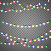 Christmas lights isolated on transparent background. Xmas garland. Vector illustration