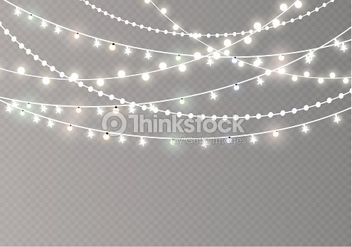 Christmas Lights Isolated On Transpa Background Xmas Glowing Garland Vector Ilration