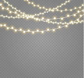 Christmas Lights Isolated On Transpa Background Xmas Glowing Garland