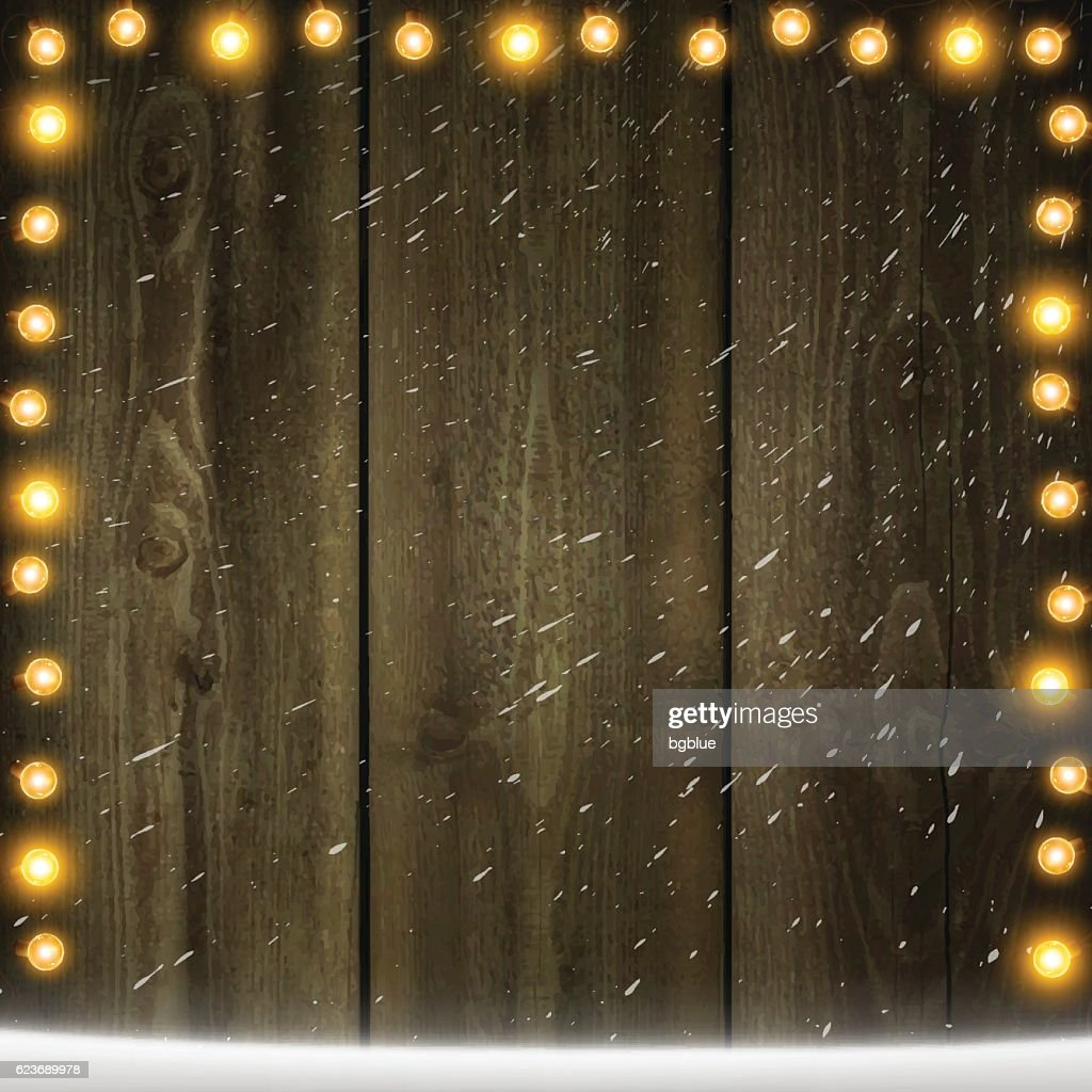 Christmas Lights On Blank Wooden Background With Snow Vector Art