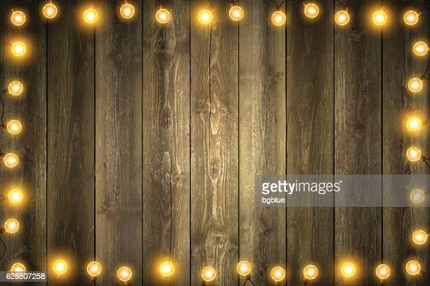 Christmas Lights on Horizontal blank Wooden background
