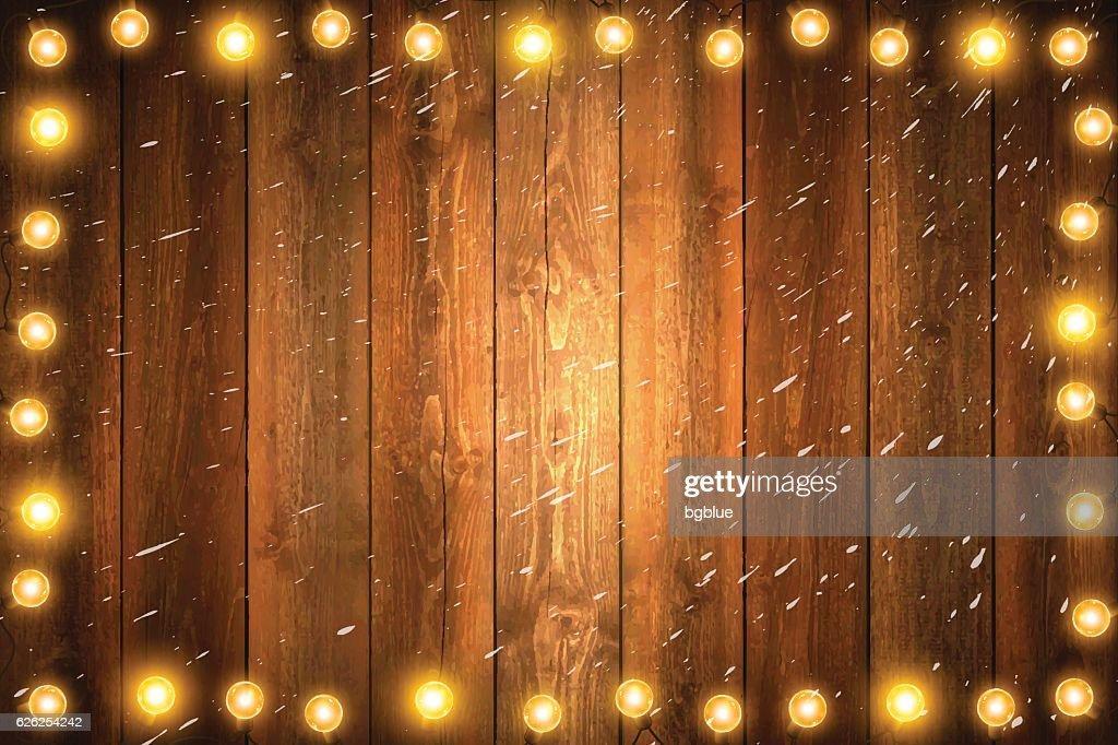 Christmas Lights On Horizontal Blank Wooden Background With Snow Vector Art