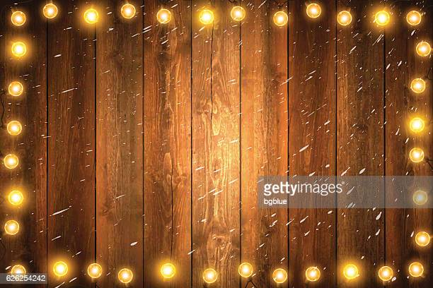 Christmas Lights on Horizontal blank Wooden background with snow