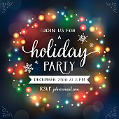 Christmas Lights Wreath Bokeh Invitation