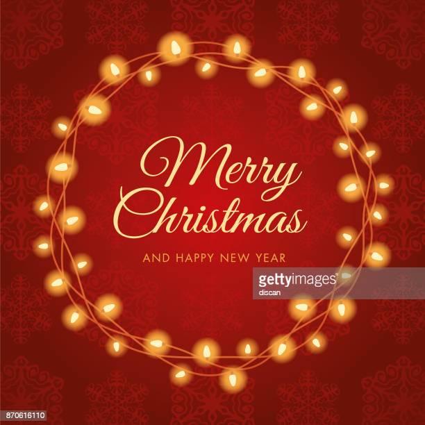 christmas lights wreath. - christmas wreath stock illustrations