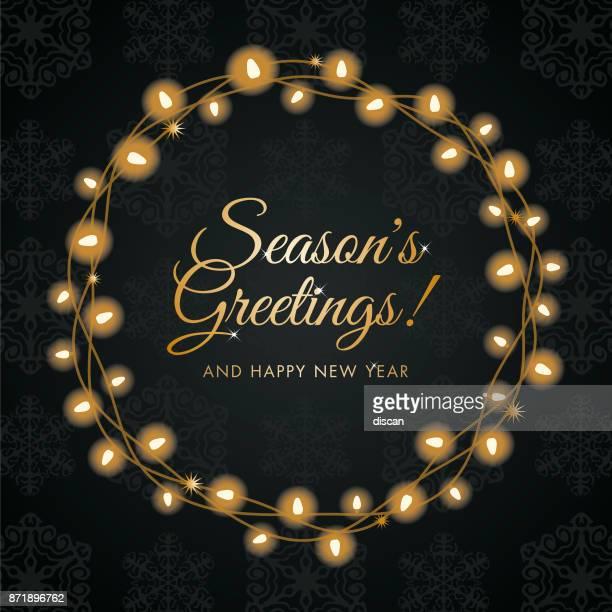 christmas lights wreath. - laurel wreath stock illustrations