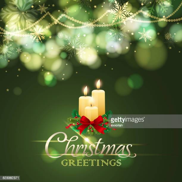 christmas ligths and candles - candle stock illustrations