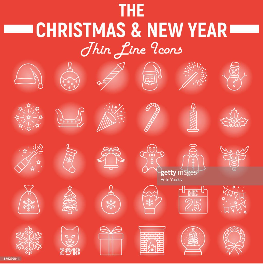 Weihnachten Liniensymbol Set Neujahr Symbole Sammlung Vektorskizzen ...