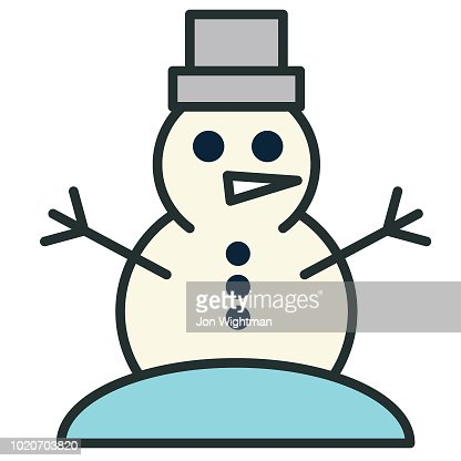 Christmas Line Icon Snowman Vector Art Getty Images
