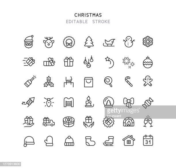 42 christmas line icons editable stroke - gifts stock illustrations