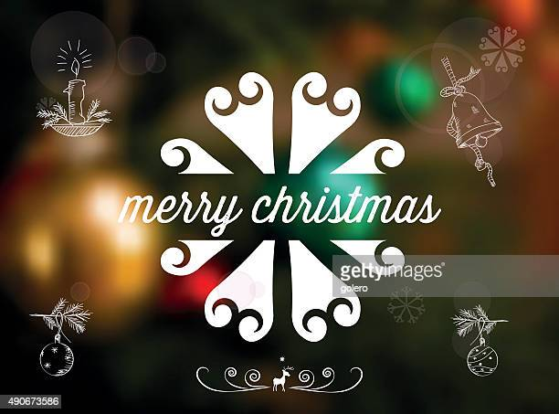 christmas line ornament on blurred shining background with scribble icons - blink stock illustrations, clip art, cartoons, & icons