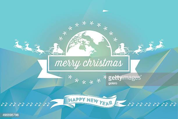 christmas line ornament on colored blue polygonal background