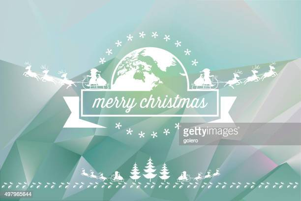 christmas line ornament on pastel colored polygonal background