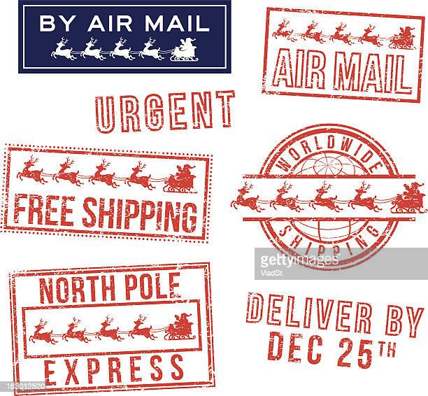 Christmas mail rubber stamps