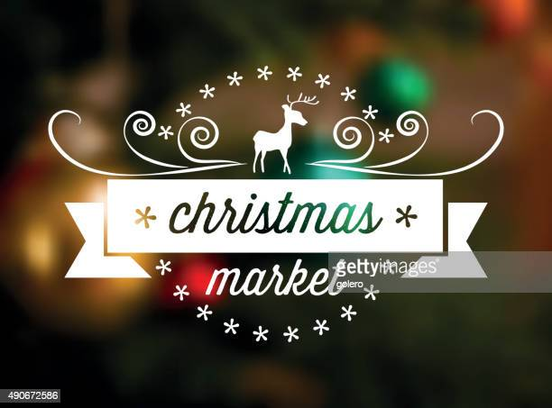 christmas market line art icon on blurred background