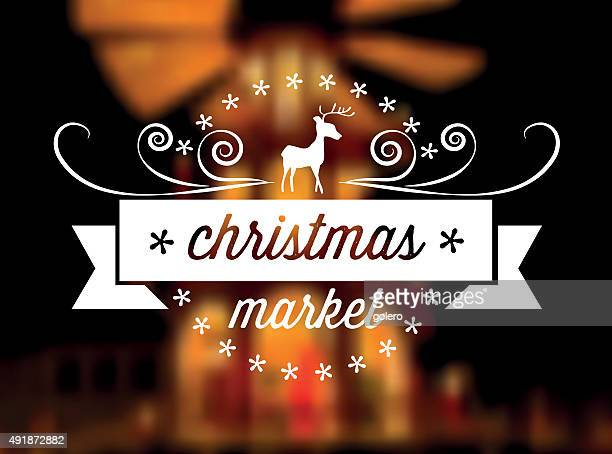 christmas market line art icon on blurred festive golden background