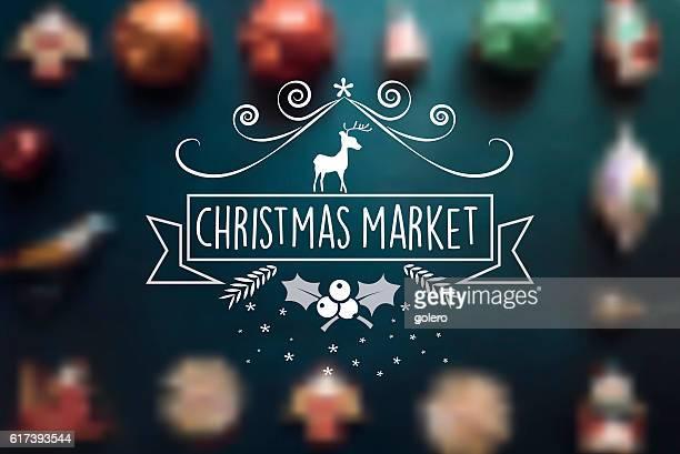 christmas market line vintage badge on blurred balls