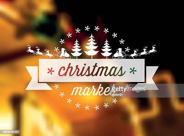 christmas market vector ornament on blurred golden illuminated background
