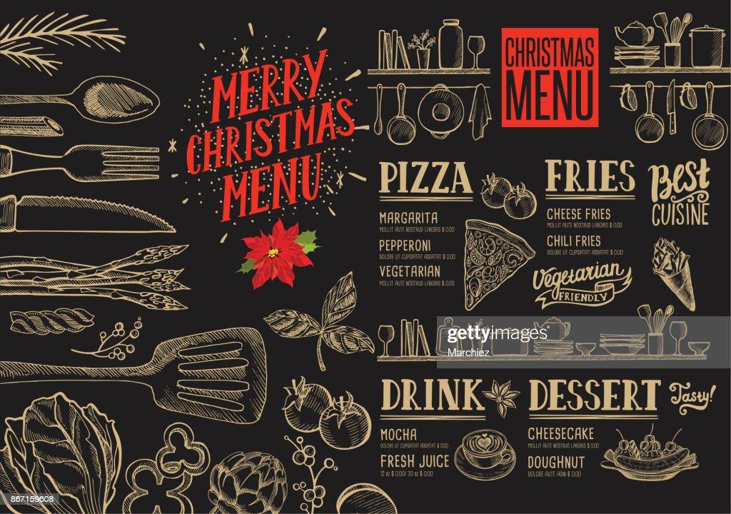 Weihnachten Essen Menüvorlage Für Restaurant Vektorgrafik   Getty Images