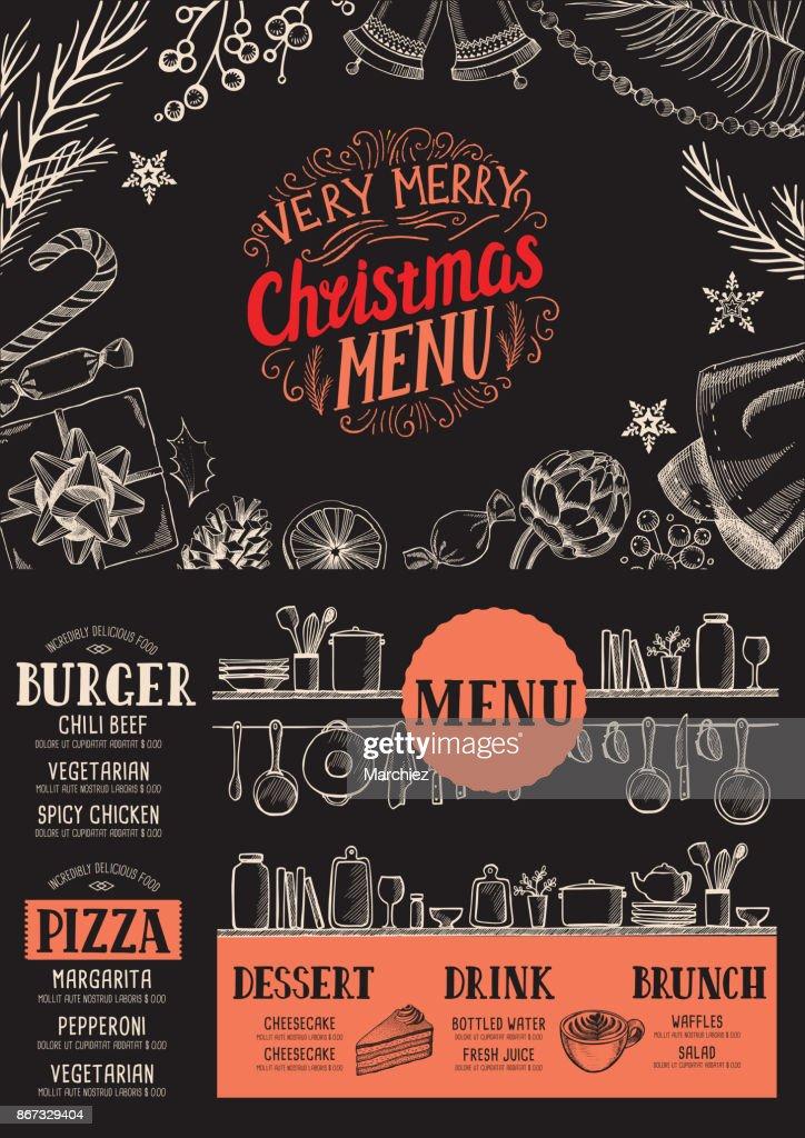 Weihnachten Essen Menüvorlage Für Restaurant Vektorgrafik | Getty Images
