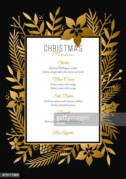 christmas menu template. - grace stock illustrations