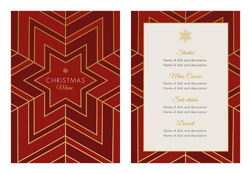 Christmas Menu Template with geometric Snowflake - gettyimageskorea