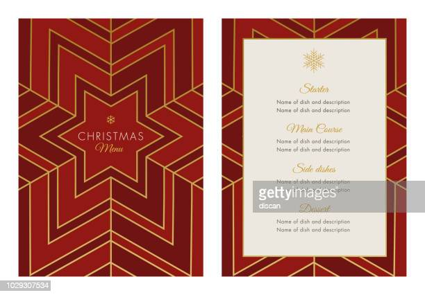 christmas menu template with geometric snowflake - grace stock illustrations