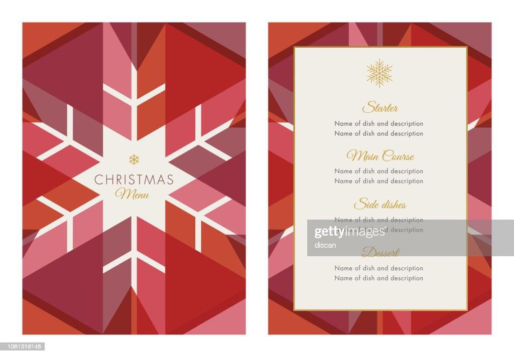 幾何学的な雪の結晶をクリスマス メニュー テンプレート : ストックイラストレーション