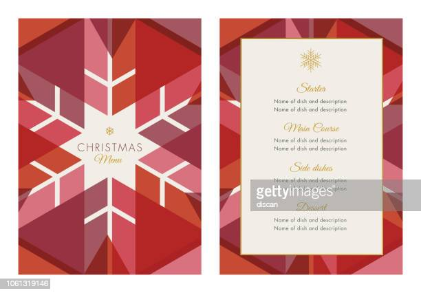 christmas menu template with geometric snowflake - modern stock illustrations