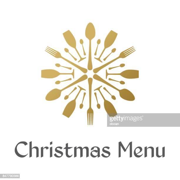 ilustrações de stock, clip art, desenhos animados e ícones de christmas menu with golden snowflake - talheres
