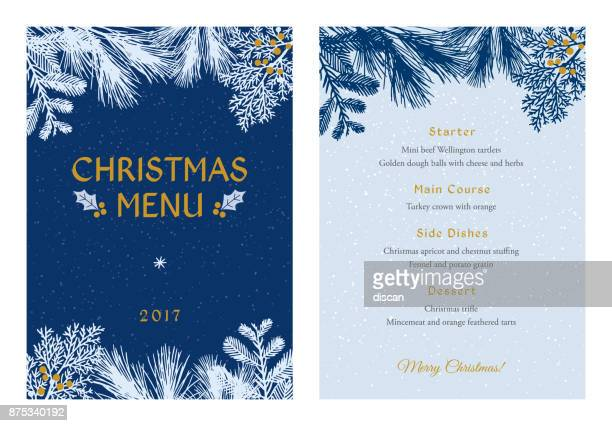 Christmas Menu with White Evergreen Silhouettes.