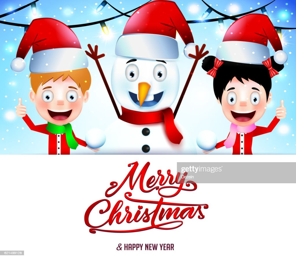 Christmas Message On White Background With Smiling Kids Vector Art ...
